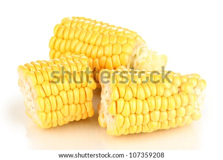 Fresh corn pieces isolated on white - stock photo