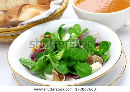 fresh corn salad with bread and soup, breakfast image