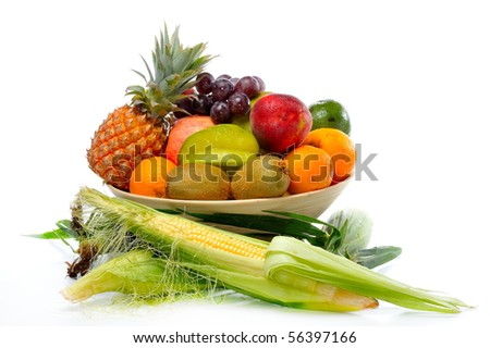 fresh corn vegetable and fruits isolated on white background - stock photo