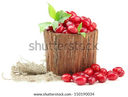 Fresh cornel berries in wooden vase, isolated on white - stock photo