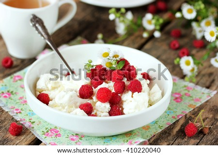 Fresh cottage cheese with juicy berries raspberries, dietary breakfast for summer time selective focus - stock photo