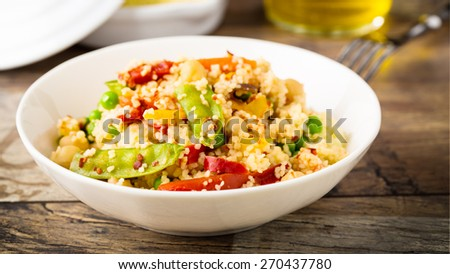 fresh couscous with mixed grilled vegetables.