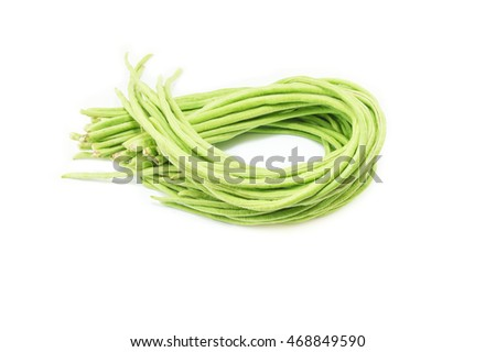 Fresh cowpea beans on white background