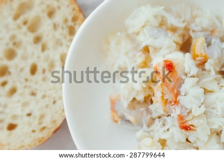 Fresh Crab Meat in a White Bowl Healthy Food