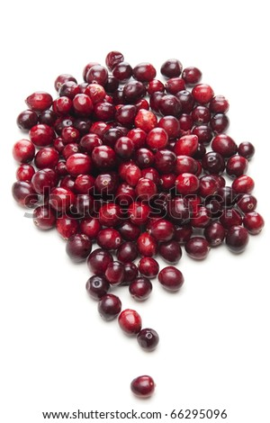 fresh cranberries on white background, from above - stock photo