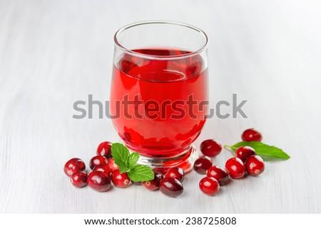 Fresh cranberry juice. Small depth of field  - stock photo