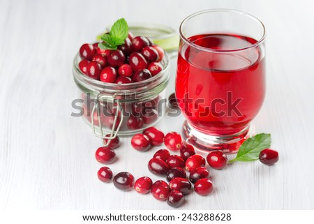 Fresh cranberry juice. Small depth of field  - stock photo