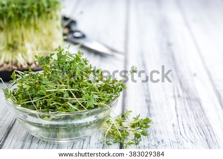 Fresh Cress (close-up shot) on rustic wooden background - stock photo