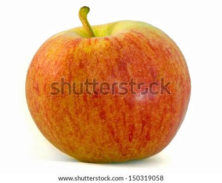 Fresh crisp gala apple isolated over white background - stock photo