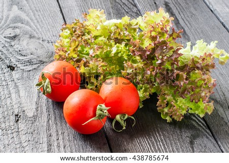 Fresh crispy purple lettuce Lollo Rossa and tomatoes. The source of vitamins and minerals, detox, diet, health or vegetarian food concept - stock photo