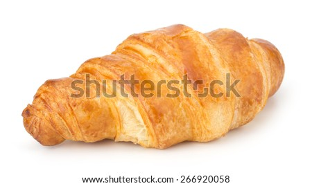 Fresh Croissant isolated on white background - stock photo