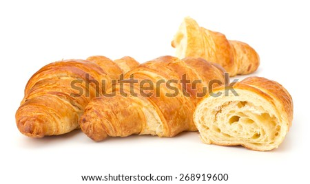 Fresh Croissant isolated on white background - stock photo