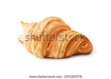 fresh croissant on white background - stock photo