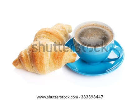 Fresh croissants and coffee. Isolated on white background