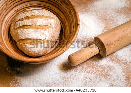 Fresh croissants on white plate. Bakery concept - stock photo
