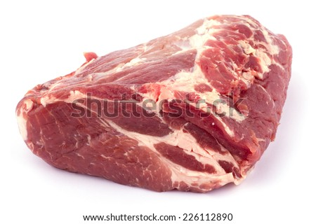 Fresh crude pork meat isolated on white background cutout
