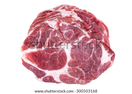 Fresh crude pork neck meat steak isolated on white background - stock photo