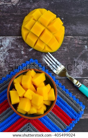 Fresh cubed ripe mango in a bowl  - stock photo