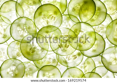 Fresh Cucumber and slices white background - stock photo