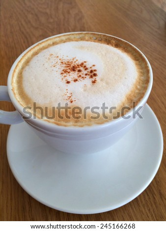 Fresh cup of Hot cappuccino coffee