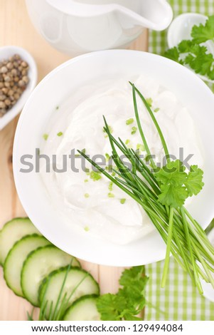 Fresh curd with herbs