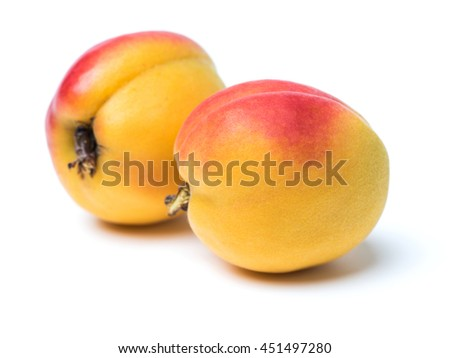 Fresh cut apricot fruits isolated on white background, with clipping path