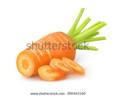 Fresh cut carrot over white background with clipping path - stock photo