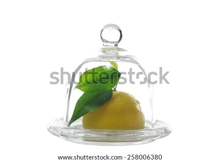 fresh cut lemon and leaf on white background - stock photo