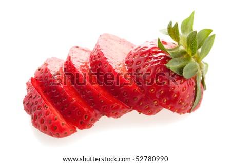 Fresh cut strawberry - stock photo
