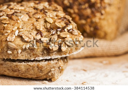 Fresh,  cut whole grain bread with linseed and oatmeal