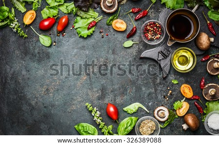 Fresh delicious ingredients for healthy cooking or salad making on rustic background, top view, banner. Diet or vegetarian food concept. - stock photo