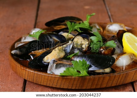 fresh delicious seafood mussels with green parsley