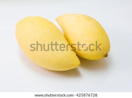 fresh delicious yellow mango isolated  on white background - stock photo