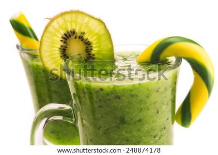 Fresh dessert kiwi beverage isolated on white background - stock photo