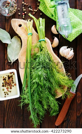 fresh dill and onion - stock photo