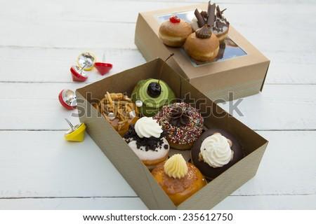 Fresh donuts box - stock photo