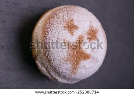 Fresh donuts. Shrove Tuesday. fat Thursday. homemade doughnuts with stars - stock photo