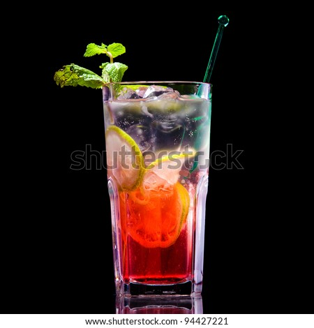 Fresh drink on black background - stock photo