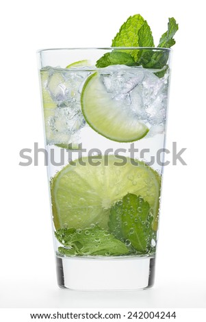 Fresh Drink with lime and mint - stock photo