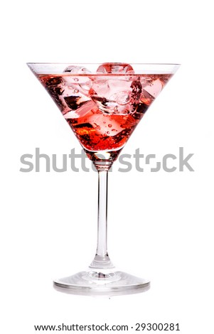 Fresh drink with red liqueur