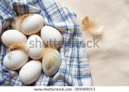 Fresh duck eggs,feather on a pile of clothes