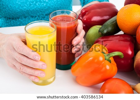 Fresh ecological, natural products: vegetables, fruits and fresh juices - stock photo