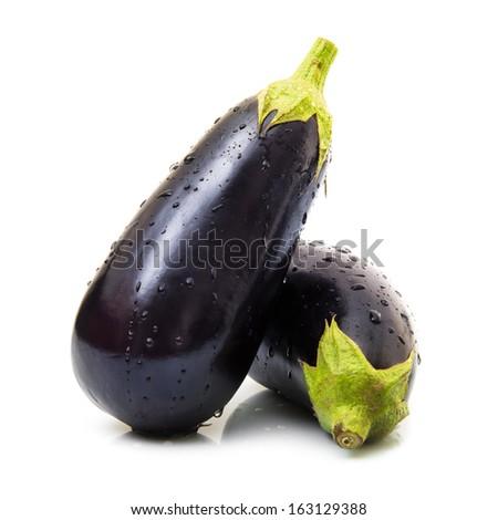 fresh eggplants in white background - stock photo