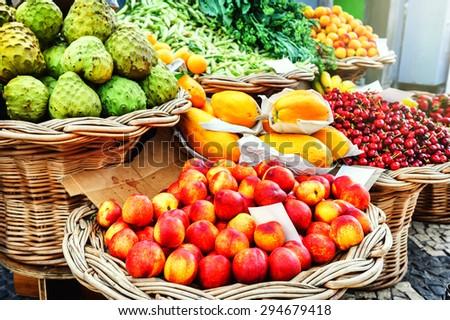 Fresh exotic fruits in Mercado Dos Lavradores. Funchal, Madeira - stock photo