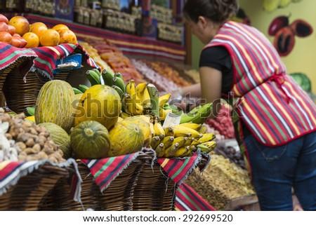 Fresh exotic fruits in Mercado Dos Lavradores. Funchal, Madeira, Portugal - stock photo