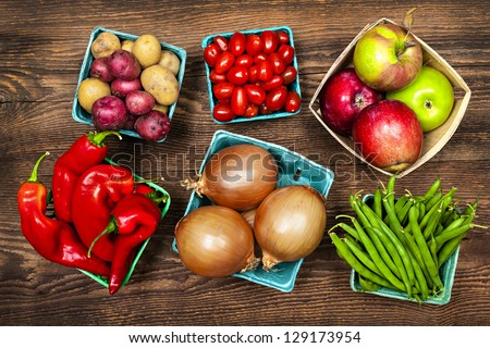 Fresh farmers market fruit and vegetable produce from above - stock photo