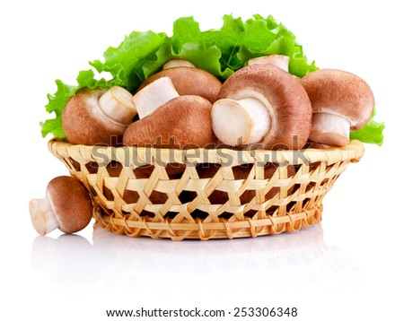 Fresh field mushroom in basket and Leaves of green salad Isolated on white background - stock photo