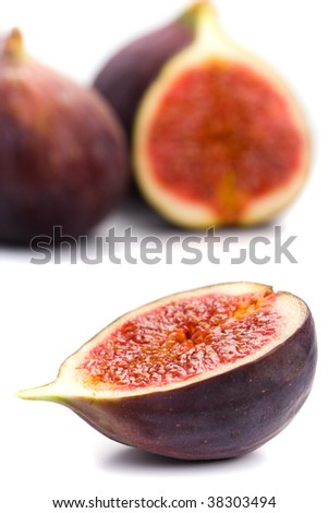 fresh figs closeup on white background