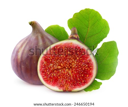 Fresh figs, cut and whole with leaf over white background, with clipping path - stock photo