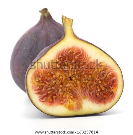 Fresh figs Fruits isolated on white background - stock photo